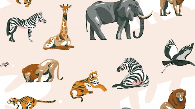 Hand drawn  abstract cartoon modern  african safari collage illustrations art seamless pattern with safari animals  on pastel color background