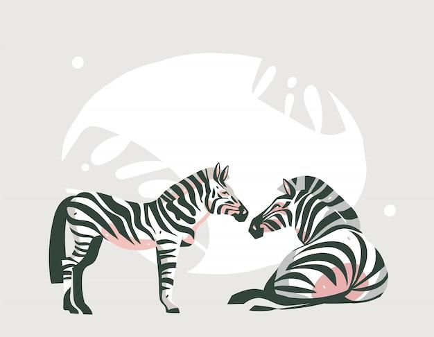 パステルカラーの背景にサファリ動物と手描き抽象漫画現代アフリカサファリコラージュイラストアート