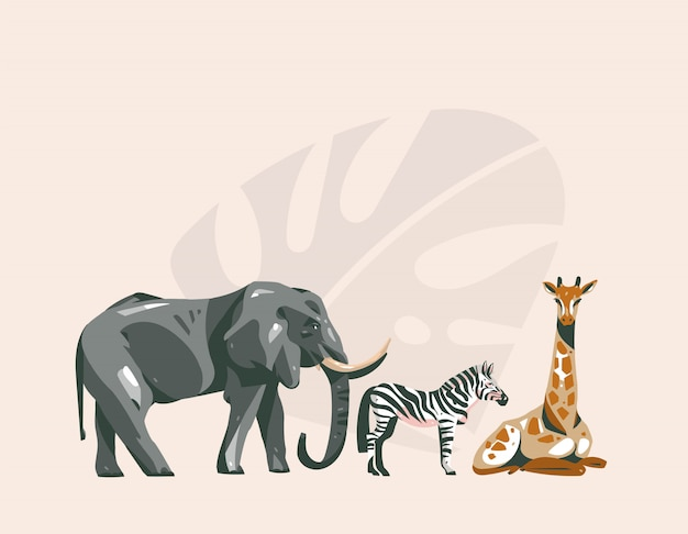 Hand drawn  abstract cartoon modern  african safari collage illustrations art  with safari animals  on pastel color background.