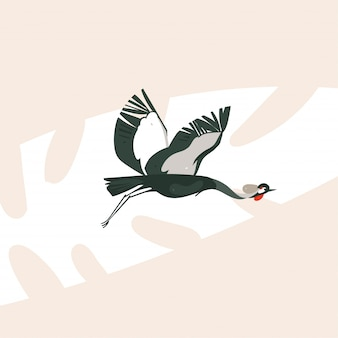 パステルカラーの背景に鶴の鳥が飛んで手描き漫画抽象的なアフリカサファリ自然コンセプトイラストアート