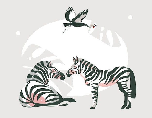 Hand drawn abstract cartoon modern graphic african safari collage illustrations art banner with safari animals isolated on pastel color background.