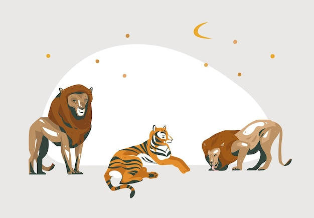 Hand drawn abstract cartoon modern graphic african safari collage illustrations art banner with safari animals isolated on white color background.
