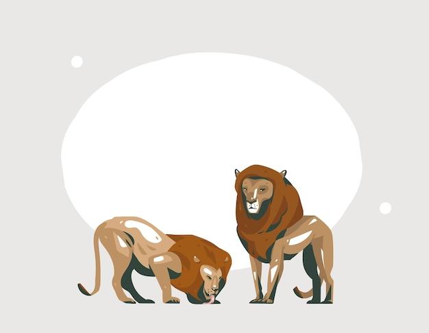 パステルカラーの背景にサファリ動物と手描き抽象漫画モダンなグラフィックアフリカサファリコラージュイラストアートバナー。