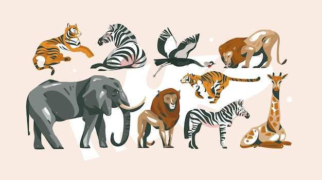 Hand drawn abstract cartoon modern graphic african safari collage illustrations art collection set bundle with safari animals isolated on pastel color background.