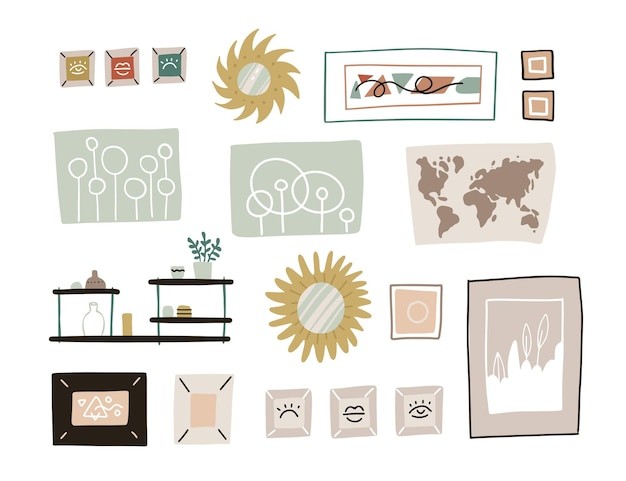 Hand drawn abstract cartoon modern graphic frames pictures collection set illustrations. wall decoration - mirror, map and shelves. modern art isolated on white background.