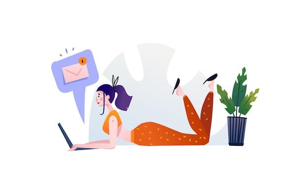 手描き抽象漫画モダンなグラフィックイラストアートの女の子とラップトップ