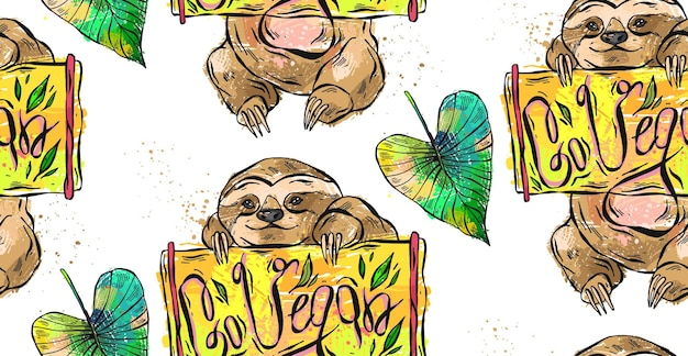 彼のヘンドに木の板を保持している幸せなナマケモノの手描きの抽象的な漫画のパターン