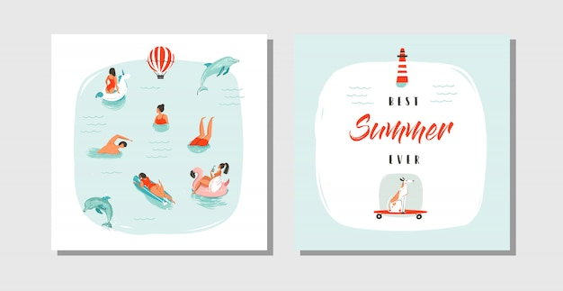Hand drawn  abstract cartoon summer time fun cards collection set template with happy swimming people in blue ocean water,dog on skateboard and typography quote best summer ever .