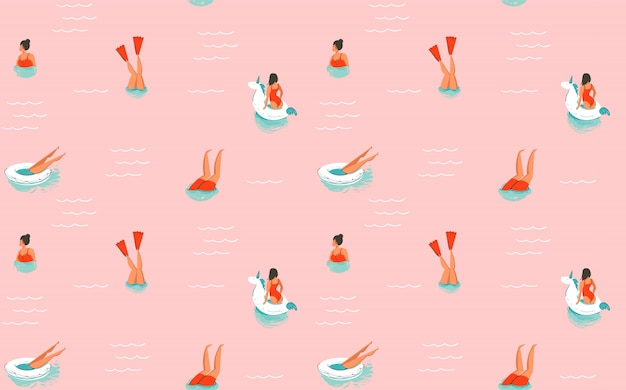 Hand drawn  abstract cartoon summer time fun illustration seamless pattern with swimming people  on pink background