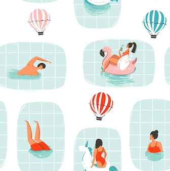 Hand drawn  abstract cartoon summer time fun illustration seamless pattern with swimming people in swimming pool with hot air balloons  on white background