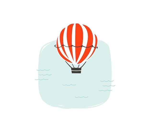 Hand drawn abstract cartoon summer time fun illustration with hot air balloon