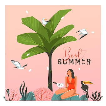 Hand drawn   abstract cartoon summer time graphic illustration template card with girl,sunset,palm,tree,toucan birds on beach scene and modern typography best summer isolated on white background