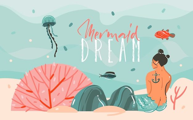 Hand drawn abstract cartoon summer time graphic illustrations art scene background with ocean,jellyfish,beauty mermaid girl  isolated on blue water waves.