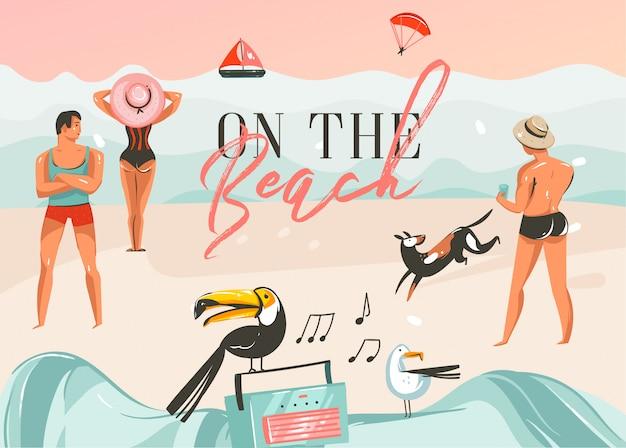 手描き抽象漫画夏時間グラフィックイラストアートテンプレートの背景に海のビーチの風景、ピンクの夕日、男の子と女の子、ビーチのタイポグラフィテキスト