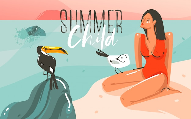 Hand drawn abstract cartoon summer time graphic illustrations art template background with ocean beach landscape,pink sunset,toucan bird and beauty girl with summer child typography quote