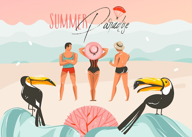 Hand drawn  abstract cartoon summer time graphic illustrations art template background with ocean beach landscape,pink sunset,toucan birds and group of people with summer paradise typography