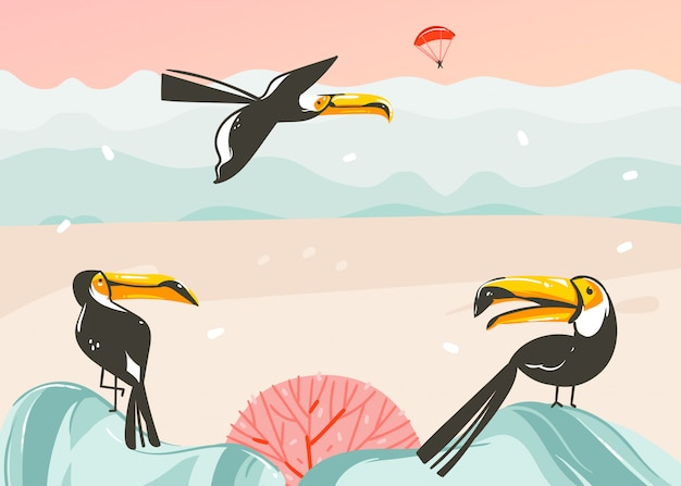 Hand drawn  abstract cartoon summer time graphic illustrations art template background with ocean beach landscape,pink sunset,tropical toucan birds and copy space place for your text