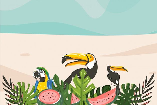 Hand drawn  abstract cartoon summer time graphic illustrations art template background with ocean beach landscape,tropical palm tree and exotic toucan bird