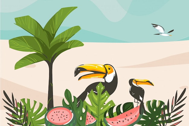 Hand drawn  abstract cartoon summer time graphic illustrations art template background with ocean beach landscape,tropical palm tree and exotic tropical birds