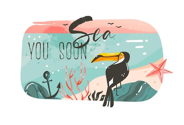 Ручной обращается абстрактный мультфильм летнее время графические иллюстрации искусство шаблон баннер фон с пейзажем пляжа океана, розовый закат, красота тукан с морем вы скоро цитата типографии.