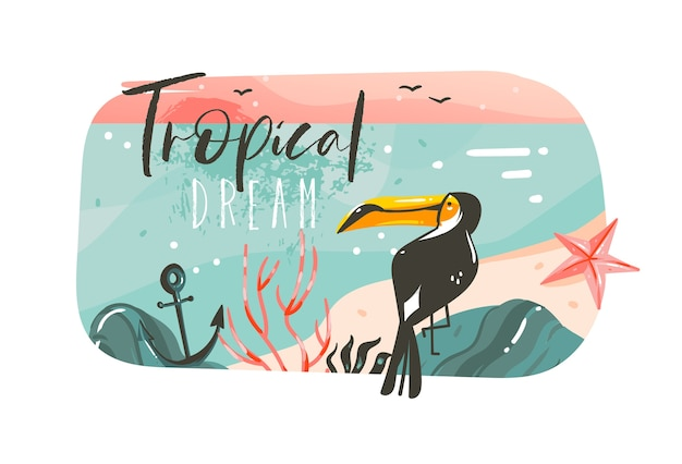 Hand drawn abstract cartoon summer time graphic illustrations art template banner background with ocean beach landscape,pink sunset view,beauty toucan with tropical beach typography quote.