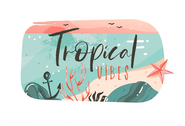 Hand drawn  abstract cartoon summer time graphic illustrations art template banner badge background with ocean beach landscape,pink sunset view with tropical vibes typography quote