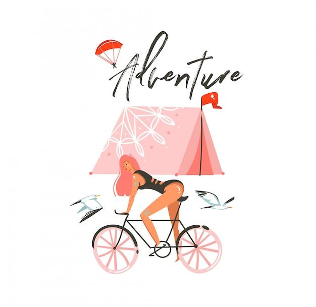 Ручной обращается абстрактный мультфильм летнее время графические иллюстрации искусство шаблон подписать фон с девушкой, ездящей на велосипеде, палаткой для кемпинга и современной типографикой приключения на белом фоне