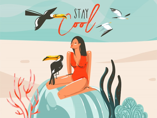 Hand drawn  abstract cartoon summer time graphic illustrations art template sign background with girl,toucan birds on beach scene and modern typography stay cool  on white background