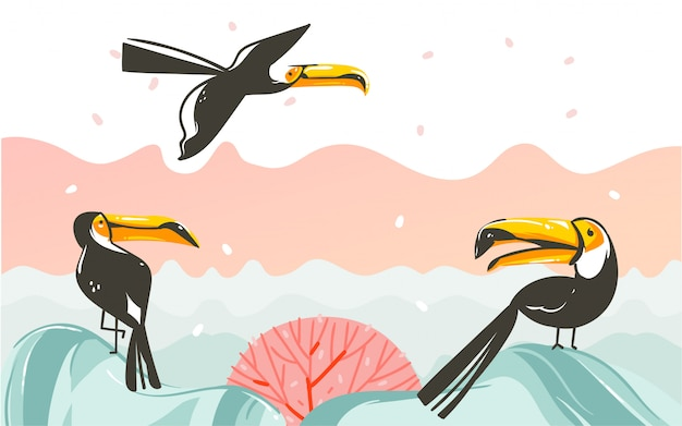 Hand drawn  abstract cartoon summer time graphic illustrations art with beach sunset scene with tropical toucan birds  on white background