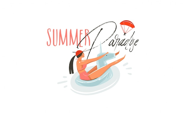 Hand drawn  abstract cartoon summer time graphic illustrations art with beauty girl on unicorn float ring swimming on pool and summer paradise typography quote  on white background