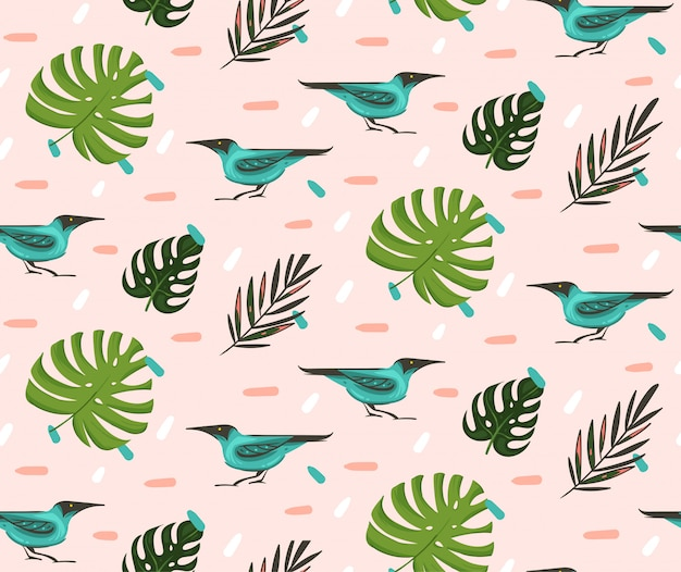 Hand drawn  abstract cartoon summer time graphic illustrations artistic seamless pattern with exotic tropical palm leaves green honeycreeper birds  on pink pastel background
