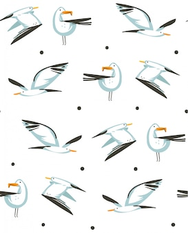 Hand drawn  abstract cartoon summer time graphic illustrations artistic seamless pattern with flying sea gulls on beach  on white background