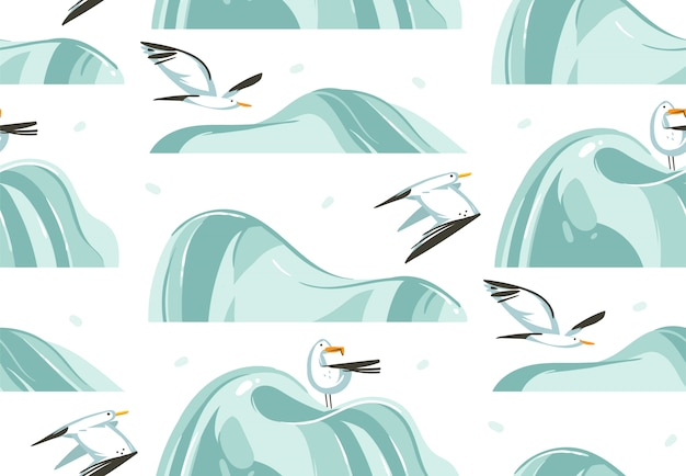 Hand drawn  abstract cartoon summer time graphic illustrations artistic seamless pattern with flying sea gulls birds on beach  on white background