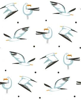 Ручной обращается абстрактный мультфильм летнее время графические иллюстрации художественный бесшовный узор с летающими чайками на пляже на белом фоне