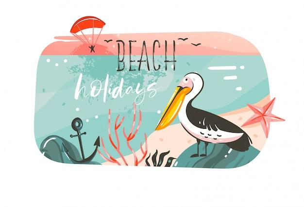 手描きの抽象的な漫画夏時間グラフィックイラストバナーの背景に海のビーチの風景、ピンクのサンセットビュー、ペリカンの鳥、ビーチの休日のタイポグラフィの引用が白で隔離