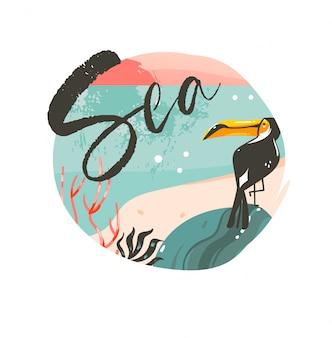 手描きの抽象的な漫画夏時間グラフィックイラストテンプレート背景バッジデザインオーシャンビーチの風景、ピンクの夕日と海のタイポグラフィテキストと美容オオハシ鳥