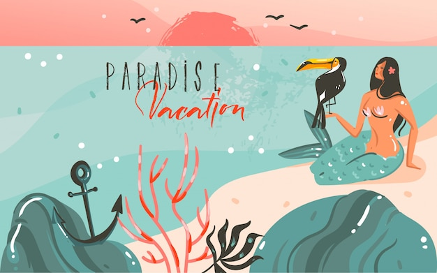 Hand drawn  abstract cartoon summer time graphic illustrations template background with ocean beach landscape,sunset and beauty girl mermaid,toucan bird with paradise vacation typography quote