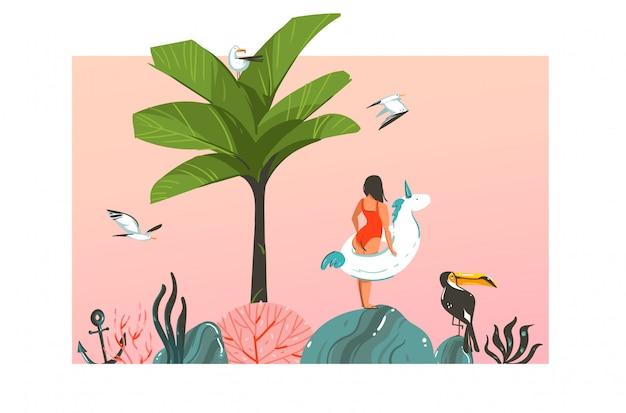 Ручной обращается абстрактный мультфильм летнее время графические иллюстрации шаблонов карт с девушкой, плавающее кольцо единорога, пальма, закат, птицы тукан на сцене пляжа на розовом пастельном фоне
