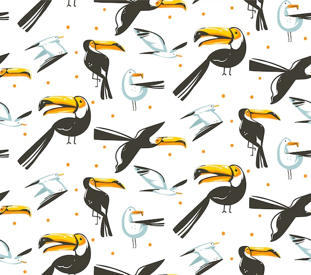Hand drawn  abstract cartoon summer time  illustrations artistic seamless pattern with beach gull and toucan birds beach vacation  on white background