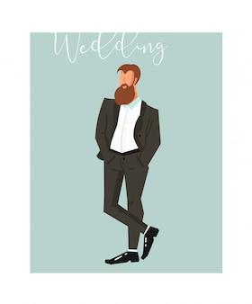 青色の背景に手描き抽象漫画結婚式新郎イラスト要素