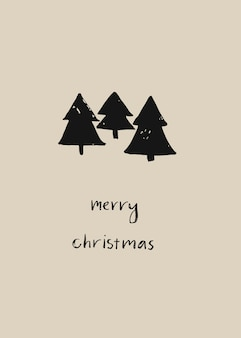 Hand drawn abstract christmas decoration card design template with brush painted geometric christmas trees and handwritten modern lettering phase merry christmas isolated on pastel background.