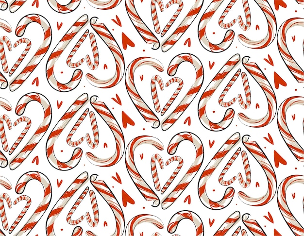 Hand drawn abstract christmas seamless pattern with candy canes