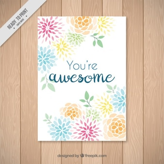 Hand drawn abstract colored flowers card