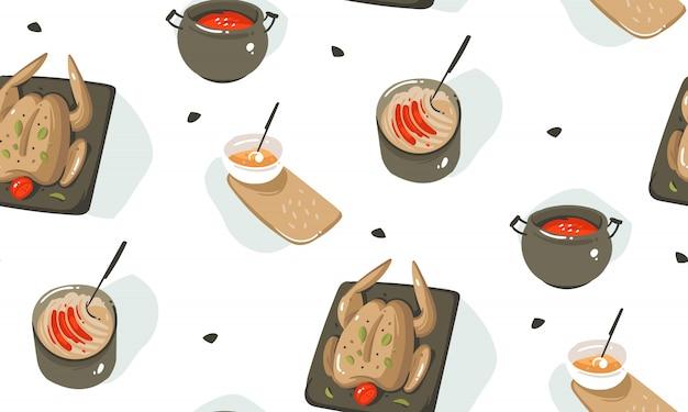 手描き抽象調理時間楽しいイラストシームレスパターン調理器具、白い背景で隔離の台所用品