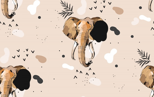 Hand drawn abstract creative graphic artistic illustrations seamless collage pattern with sketch elephant drawing tribal mottif isolated on khaki background