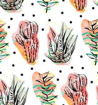 手には、水玉の背景に抽象的な創造的な多肉植物、サボテン、植物のシームレスなパターンが描かれています。ユニークで異常な流行に敏感なトレンディ。