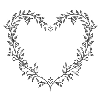 Hand drawn abstract and decorative floral heart illustration