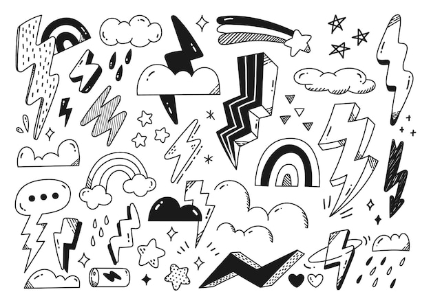 Hand drawn abstract doodles of lightning bolt cloud and star vector design element