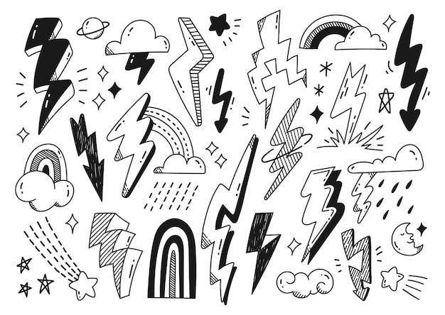 稲妻の雲と星のベクトルのデザイン要素の手描きの抽象的な落書き
