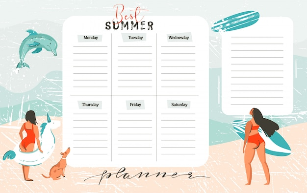 Hand drawn abstract exotic summer time funny best summer weekly organize page template with surfer girls,surfboard,dog,unicorn float fing buoy isolated on on on blue ocean waves water